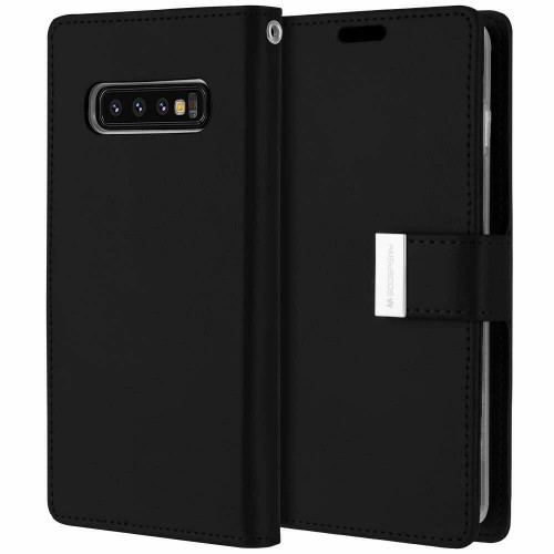 Black Genuine Mercury Rich Diary Wallet Case For Galaxy S10+ Plus - 1