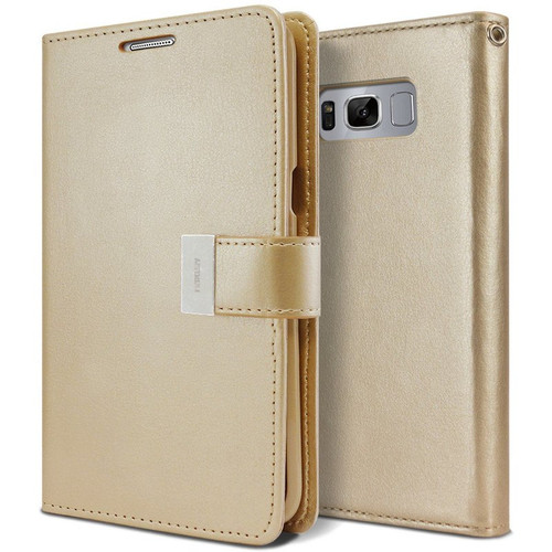 Gold Samsung Galaxy S10+ Plus Genuine Mercury Rich Diary Wallet Case - 1