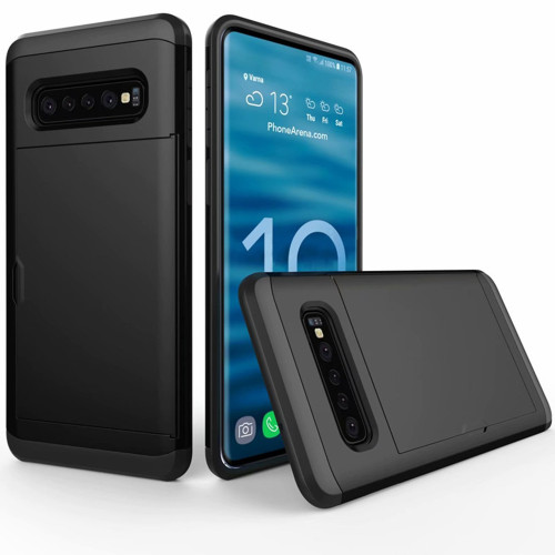Black Slide Armor Shock Proof Defender Case Slots for Galaxy S10+ Plus
