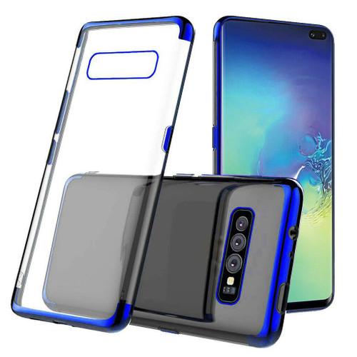 Blue Plated Clear Ultra Slim Soft Gel Case For Samsung Galaxy S10E