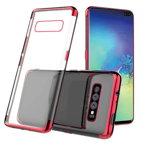 Red Plated Clear Ultra Slim Soft Gel Case For Samsung Galaxy S10E