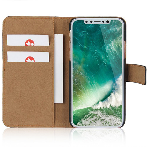 iPhone XS Max Genuine Leather Business Wallet Smart Case - Black - 1