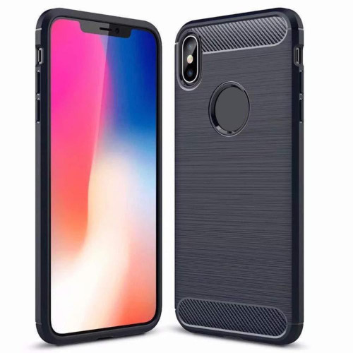 Black iPhone XS Max Slim Flexible Shock Proof Carbon Fibre Case - 1