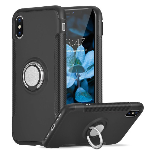 Black iPhone XS Max Magnetic 360 Degree Ring Shock Proof Case - 1