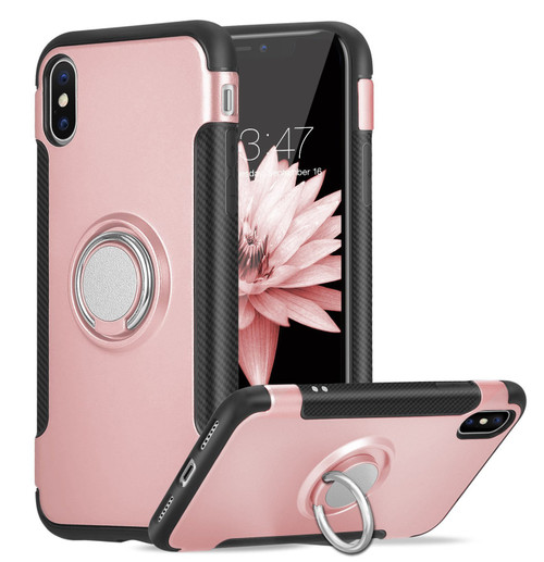 Rose Gold iPhone XS Max Metal Circle 360 Degree Ring Case Cover - 1