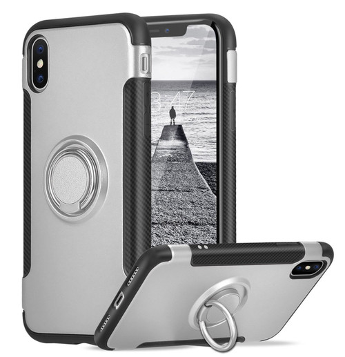 Silver iPhone XS Max Metal Circle 360 Degree Ring Protective Case - 1