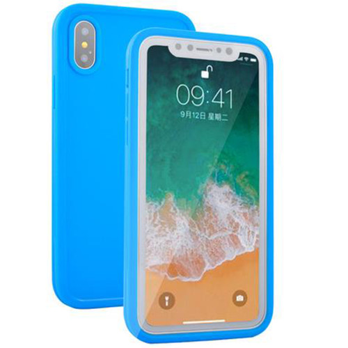 Blue iPhone XS Max Water Resistant Gel Case Built-in Screen Protection - 1
