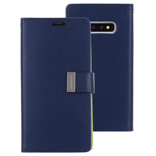 Navy Genuine Mercury Rich Diary Premium Wallet Case For Galaxy S10 - 1