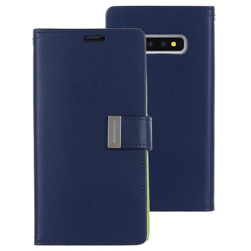 Navy Genuine Mercury Rich Diary Premium Wallet Case For Galaxy S10 - 1