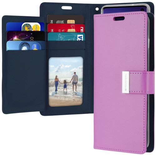 Premium Galaxy S10 Genuine Mercury Rich Diary Wallet Case - Purple - 1
