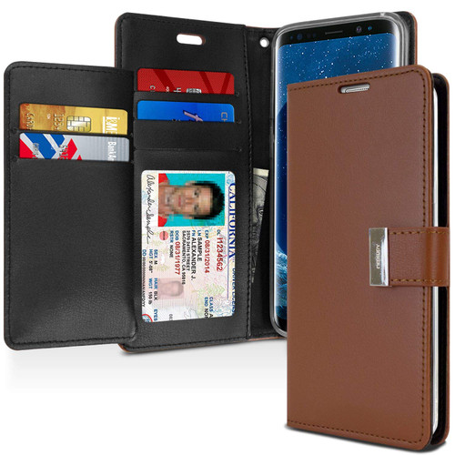 Brown Genuine Mercury Rich Diary Wallet Case For Galaxy S9 Plus - 1