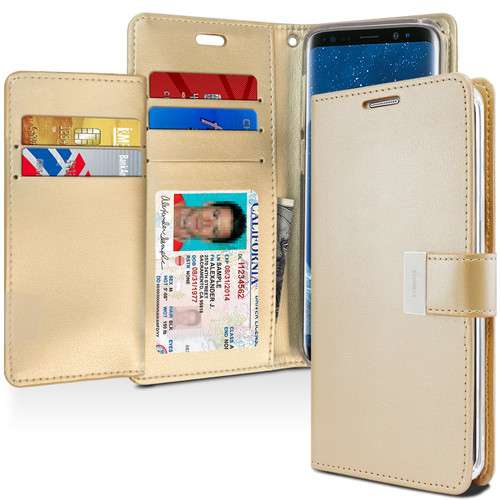 Stylish Galaxy S9 Plus Genuine Mercury Rich Diary Wallet Case - Gold -1