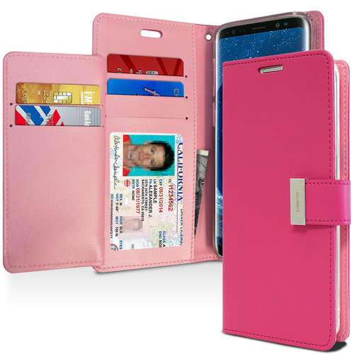 Hot Pink Mercury Rich Diary Fashionable Wallet Case For Galaxy S9 - 1