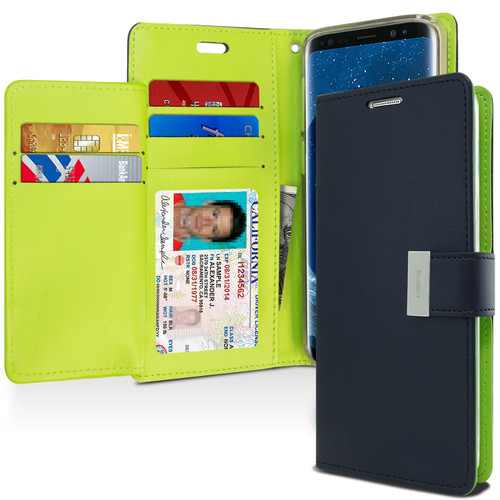 Navy Genuine Mercury Rich Diary Quality Wallet Case For Galaxy S9 - 1