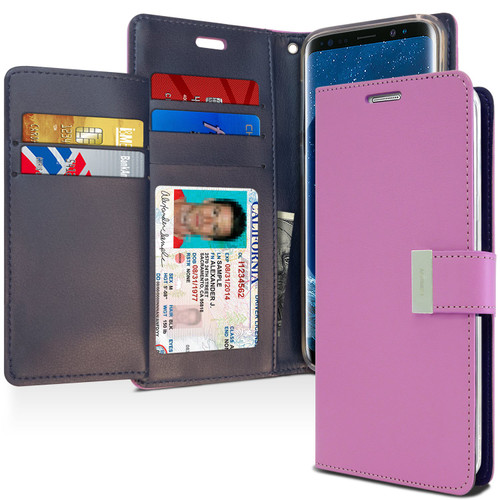 Fashionable Galaxy S9 Genuine Mercury Rich Diary Wallet Case - Purple - 1