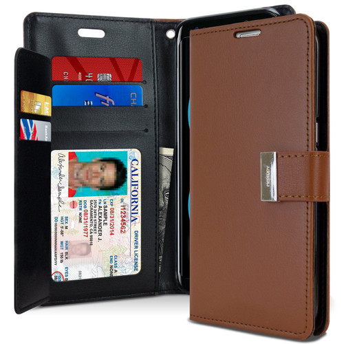 Premium Galaxy S8 Plus Genuine Mercury Rich Diary Wallet Case - Brown - 1