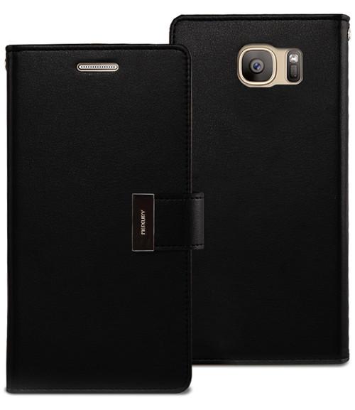 Black Premium Mercury Rich Diary Wallet Case For Galaxy S7 edge - 1