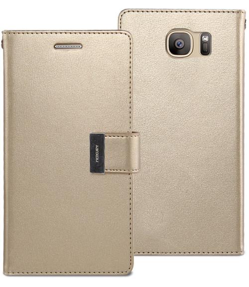 Stylish Galaxy S7 edge Genuine Mercury Rich Diary Wallet Case - Gold - 1