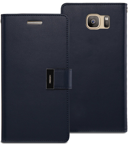 Premium Galaxy S7 Edge Genuine Mercury Rich Diary Wallet Case - Navy - 1