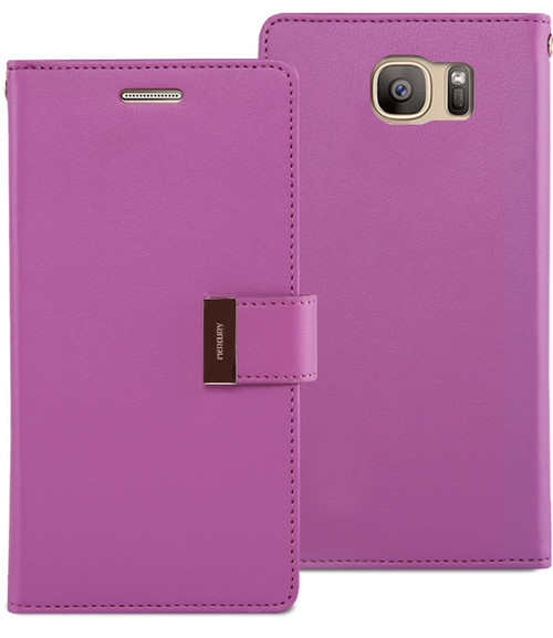 Purple Galaxy S7 Edge Genuine Mercury Rich Diary Stylish Wallet Case - 1