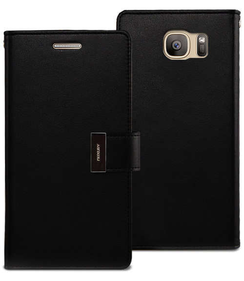 Black Galaxy S6 Edge Genuine Mercury Rich Diary Business Wallet Case - 1