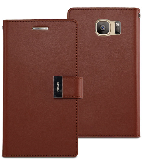 Brown Genuine Mercury Rich Diary Quality Wallet Case For Galaxy S6 - 1