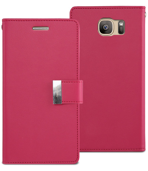 Hot Pink Genuine Mercury Rich Diary Stylish Wallet Case For Galaxy S6 - 1