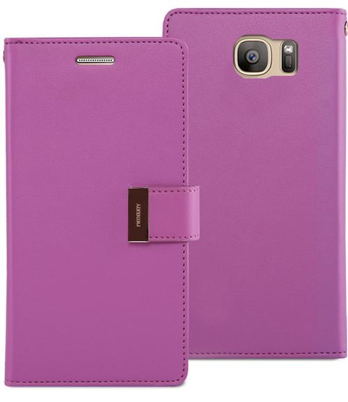 Business Galaxy S6 Genuine Mercury Rich Diary Wallet Case - Purple - 1