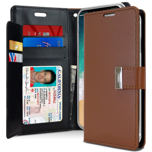Premium iPhone XR Genuine Mercury Rich Diary Wallet Case - Brown - 1