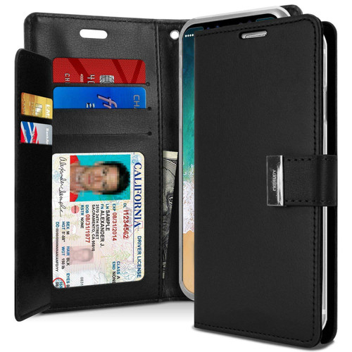 Black Genuine Mercury Rich Diary Quality Wallet Case For iPhone X / XS - 1