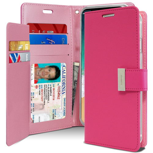 Hot Pink Mercury Rich Diary Premium Wallet Case For iPhone X / XS - 1