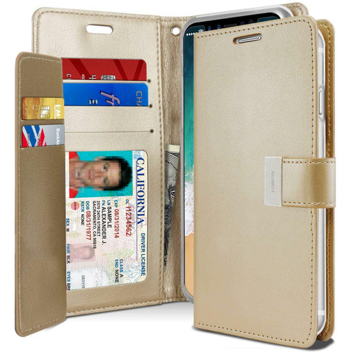 Gold Genuine Mercury Rich Diary Premium Wallet Case For iPhone X / XS - 1