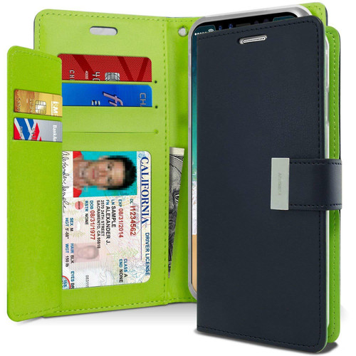 Quality iPhone X / XS Genuine Mercury Rich Diary Wallet Case - Navy - 1