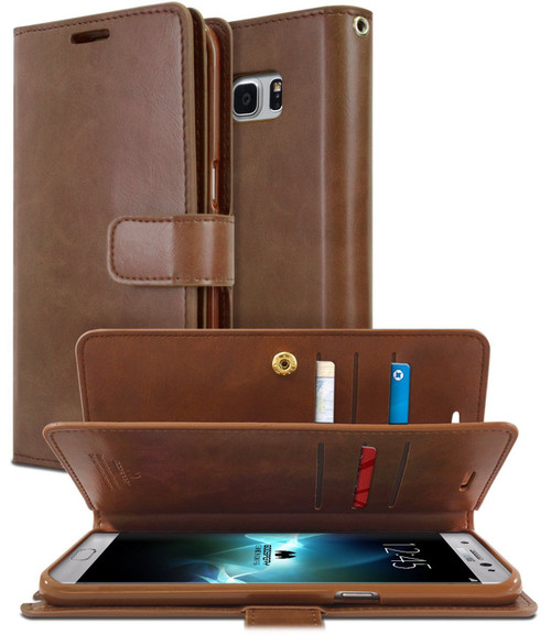 Premium Galaxy S10+ Plus Genuine Mercury  Wallet Case - Brown - 1