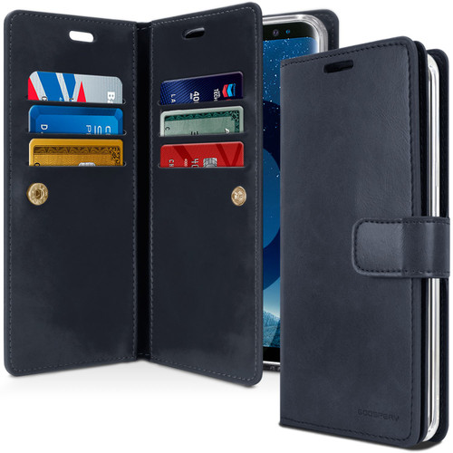 Navy Galaxy S9+ Plus Genuine Mercury Mansoor Diary Wallet Case Cover - 1