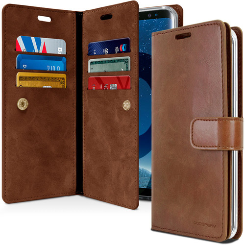 Premium Galaxy S9 Genuine Mercury Mansoor Diary Wallet Case - Brown - 1