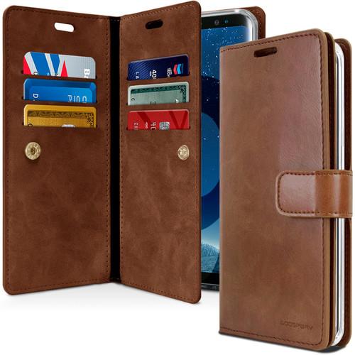 Premium Galaxy S9 Genuine Mercury Mansoor Diary Wallet Case - Brown - 1