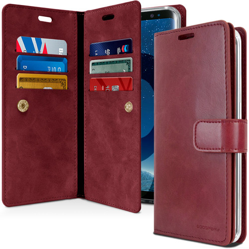 Premium Galaxy S9 Genuine Mercury Mansoor Diary Wallet Case - Wine - 1