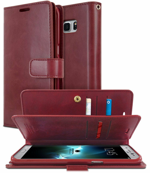 Classy Galaxy S8 Genuine Mercury Mansoor Diary Wallet Case - Wine - 1
