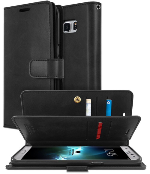Black Galaxy S8+ Plus Genuine Mercury Mansoor Diary Wallet Flip Case - 1