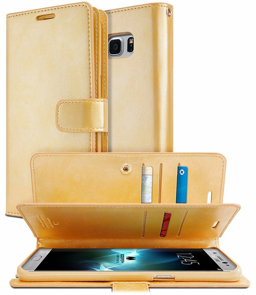 Stylish Gold Galaxy S8+ Plus Mercury Mansoor Diary Wallet Case Cover - 1