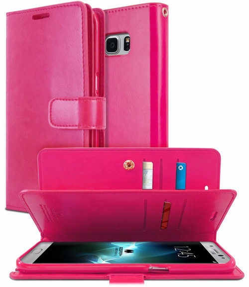 Hot Pink Galaxy S8+ Plus Genuine Mercury Mansoor Diary Wallet Case - 1