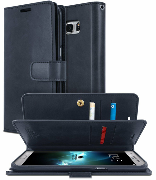 Navy Genuine Mercury Mansoor Diary Wallet Case For Galaxy S8+ Plus - 1