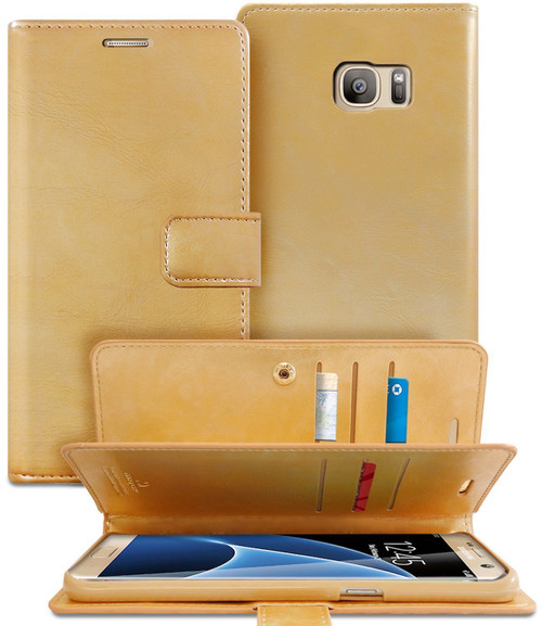 Gold Galaxy S7 Edge Genuine Mercury Mansoor Diary Wallet Case Cover - 1