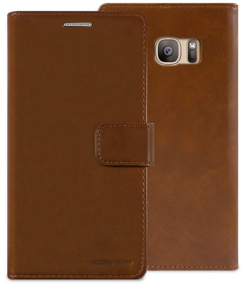 Brown Galaxy S7 Edge Genuine Mercury Mansoor Diary Wallet Flip Case - 1