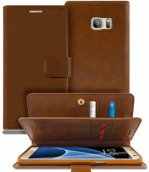 Brown Genuine Mercury Mansoor Diary Wallet Case Cover For Galaxy S6 - 1