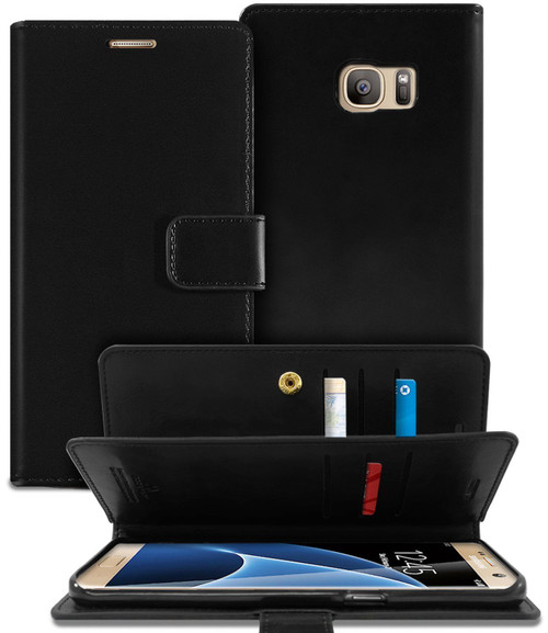Black Genuine Mercury Mansoor Diary Wallet Case For Galaxy S6 Edge - 1