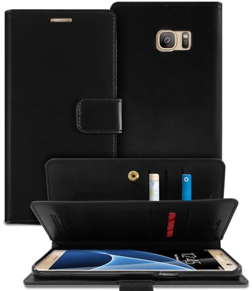Black Genuine Mercury Mansoor Diary Wallet Case For Galaxy S6 Edge - 1