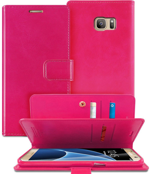 Hot Pink Genuine Mercury Mansoor Diary Wallet Case For Galaxy S6 Edge - 1