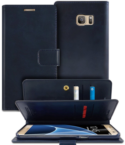 Navy Galaxy S6 Edge Quality Mercury Mansoor Diary Wallet Flip Case - 1